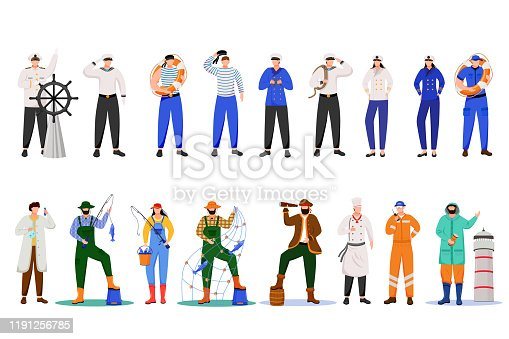 istock Maritime professions flat vector illustration. Sailors in uniform. Marine occupation. Nautical career. Cruise service. Ship team isolated cartoon characters on white background 1191256785