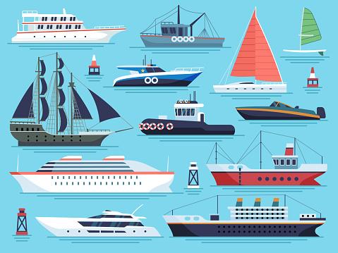 Maritime ships flat. Water carriage, vessels boats yacht ship battleship warship large vessel. Sea cargo dock vector set