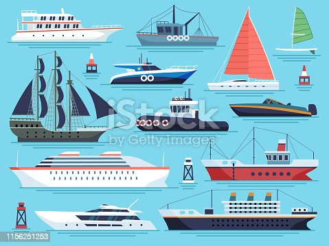 Maritime ships flat. Water carriage, vessels boats yacht ship battleship warship large vessel and speedboat. Sea cargo dock vector set