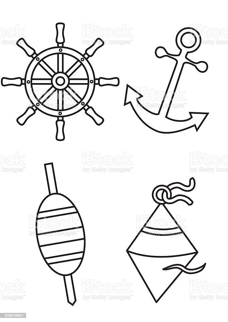 Maritime Symboles Livre De Coloriage Vecteurs Libres De Droits Et