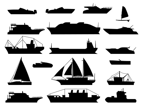 Maritime vessel silhouette. small sailboat, travel cruise boats and ship, yacht and transportation vessels vector icons