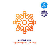 Maritime wheel vector icon illustration for logo, emblem or symbols. Part of continuous line minimalistic drawing series.
