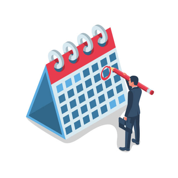 Mark calendar isometric icon Mark calendar isometric icon. Vector illustration 3d design. Businessman holding a big red pencil while making a mark. Date circled. Cartoon style. Week day month. Mockup of page. Appointment. holiday calendars stock illustrations