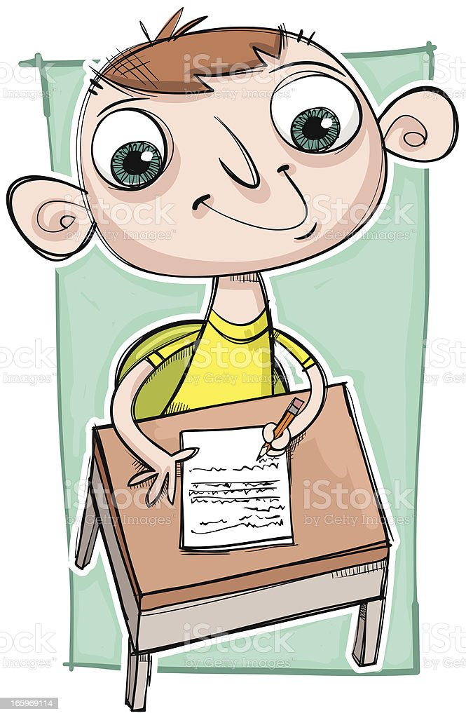 Mark is writing a test royalty-free stock vector art