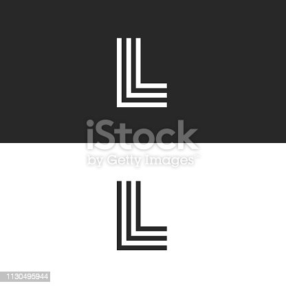 Mark L letter logo monogram simplicity linear style, right angle symbol