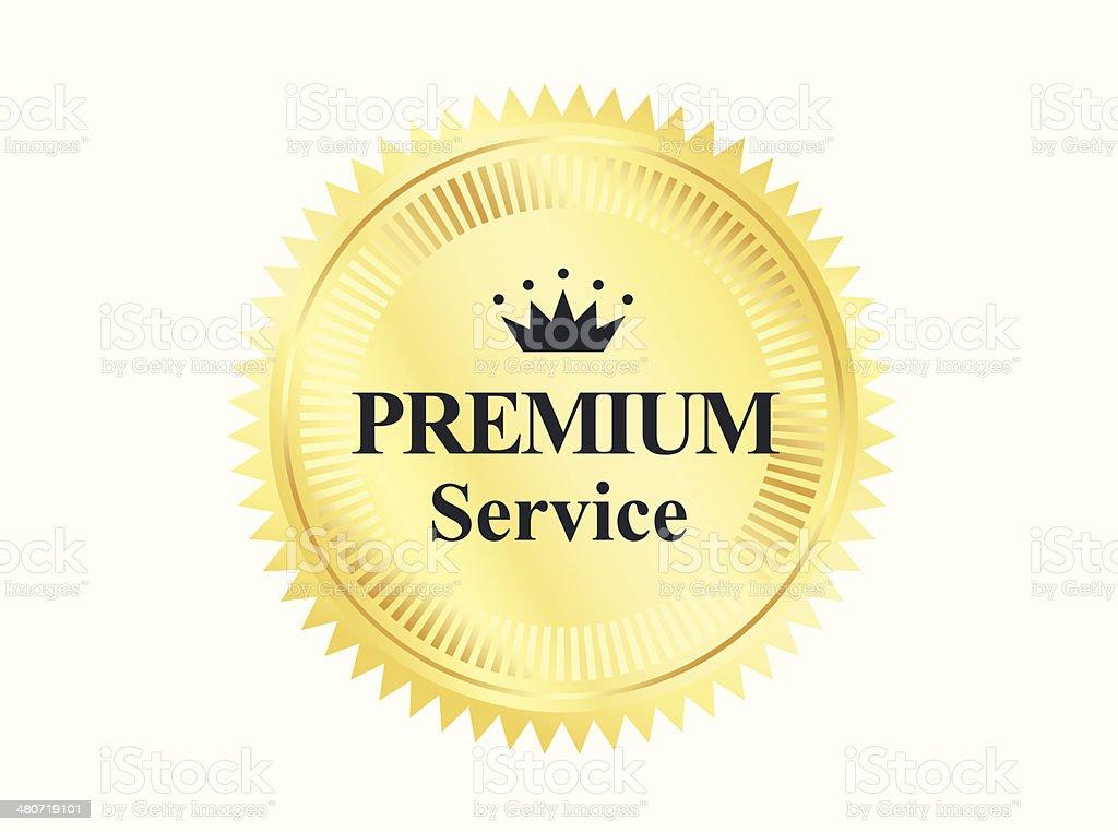 Mark of quality golden badge vector art illustration