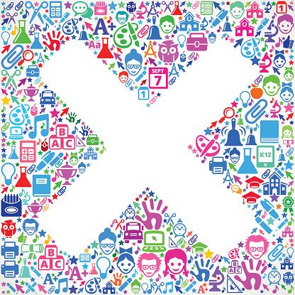 X Mark on School & Education  Icon Pattern