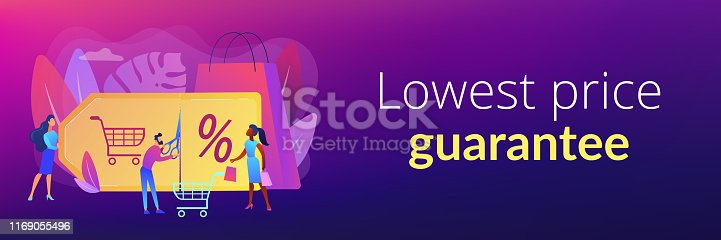 Customer attraction marketing. Shopping sale. Rewards scheme. Markdown program, promotional discount program, lowest price guarantee concept. Header or footer banner template with copy space.