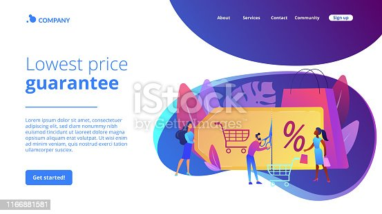 Customer attraction marketing. Shopping sale. Rewards scheme. Markdown program, promotional discount program, lowest price guarantee concept. Website homepage landing web page template.