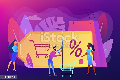 Customer attraction marketing. Shopping sale. Rewards scheme. Markdown program, promotional discount program, lowest price guarantee concept. Bright vibrant violet vector isolated illustration