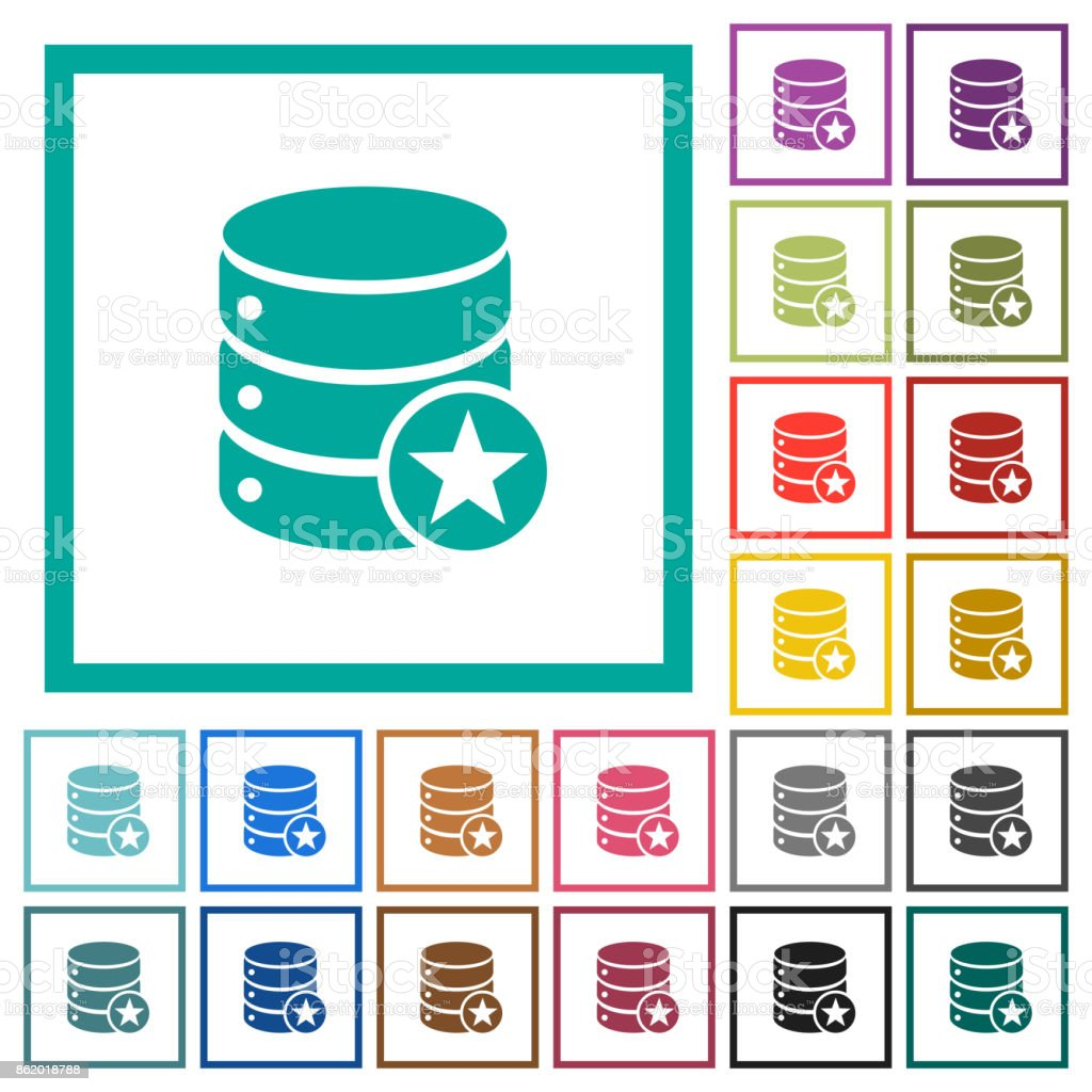 Marked database flat color icons with quadrant frames vector art illustration