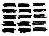Marker black lines. Vector highlighter brush lines. Hand drawing.