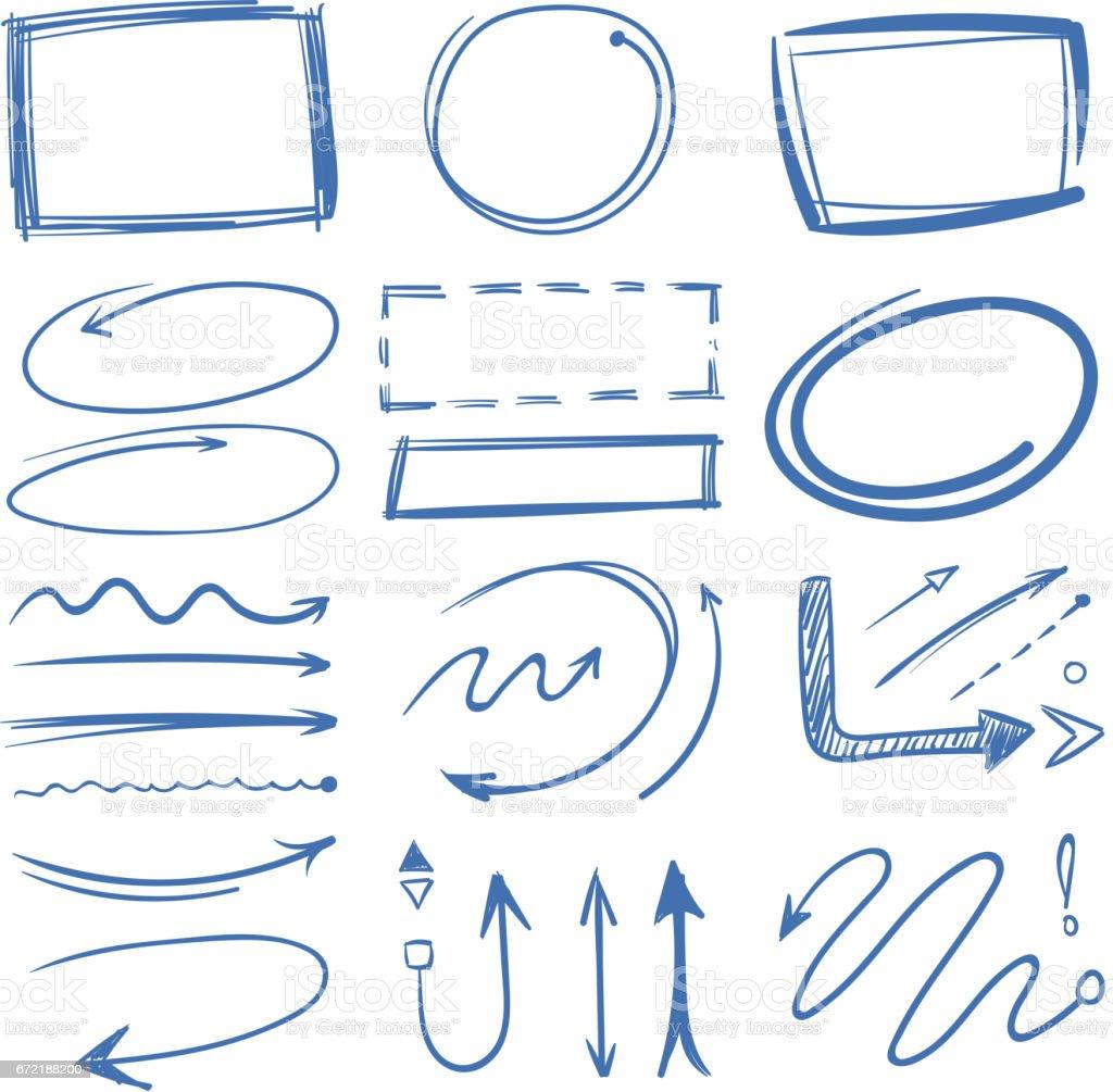 Markerkreise Pfeile Rahmen Zeigt Doodle Kollektion Stock Vektor Art ...