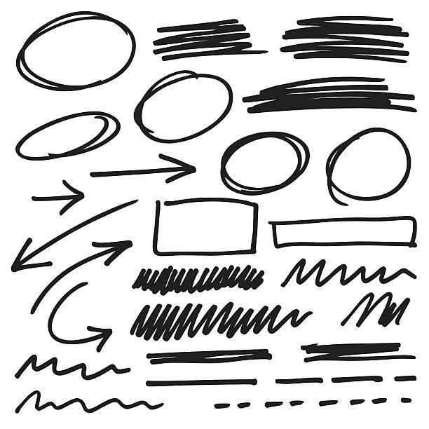 elementy znacznika - bazgroły rysunek stock illustrations
