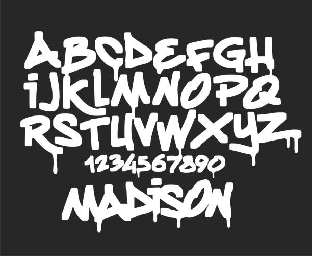 marker graffiti font, handwritten typography vector illustration. - graffiti fonts stock illustrations, clip art, cartoons, & icons