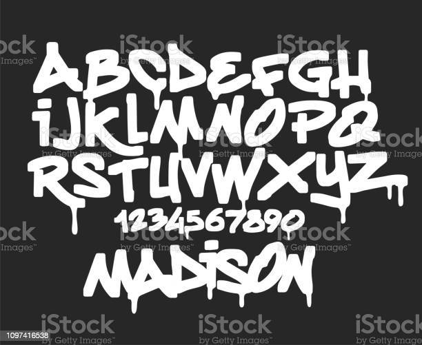 Marqueur Graffiti Polices Typographie Manuscrite Vector Illustration Vecteurs libres de droits et plus d'images vectorielles de A la mode