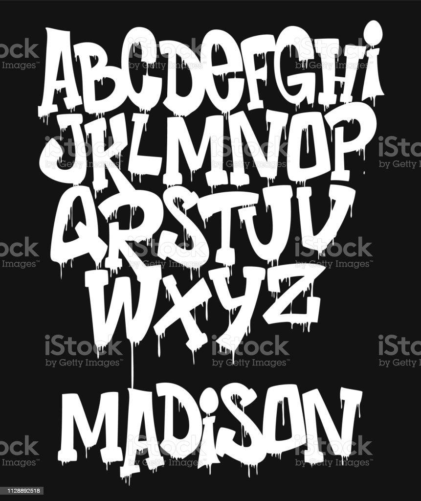 Marqueur Graffiti polices manuscrites illustration vectorielle de typographie - clipart vectoriel de Affiche libre de droits