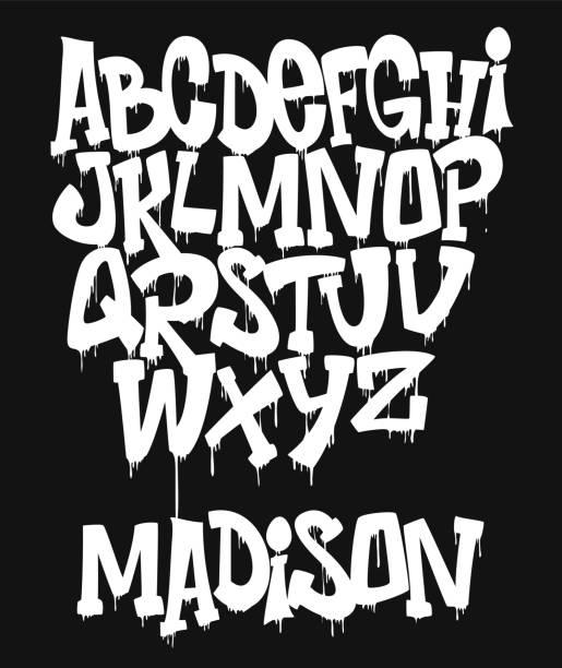 illustrations, cliparts, dessins animés et icônes de marqueur graffiti polices manuscrites illustration vectorielle de typographie - graffiti