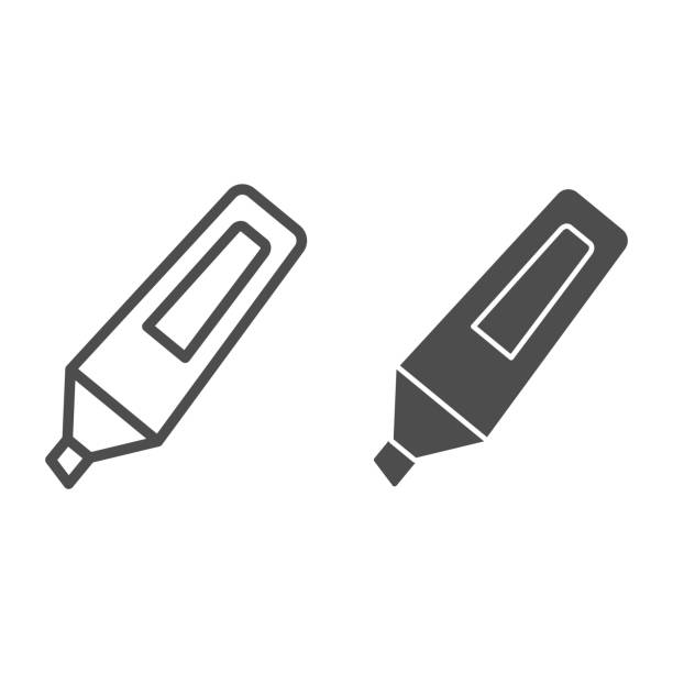 ilustrações de stock, clip art, desenhos animados e ícones de marker line and solid icon. opened highlight waterproof pen symbol, outline style pictogram on white background. office or stationery item sign for mobile concept and web design. vector graphics. - durabilidade