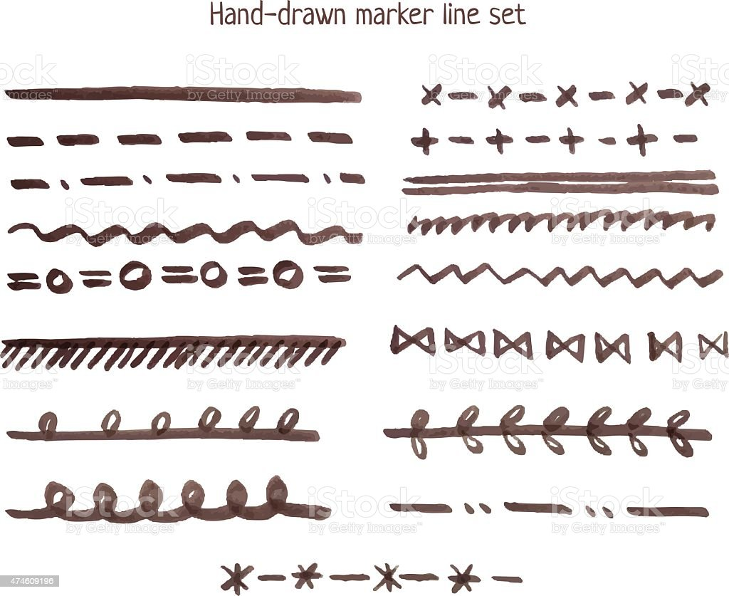 Marker line set vector art illustration