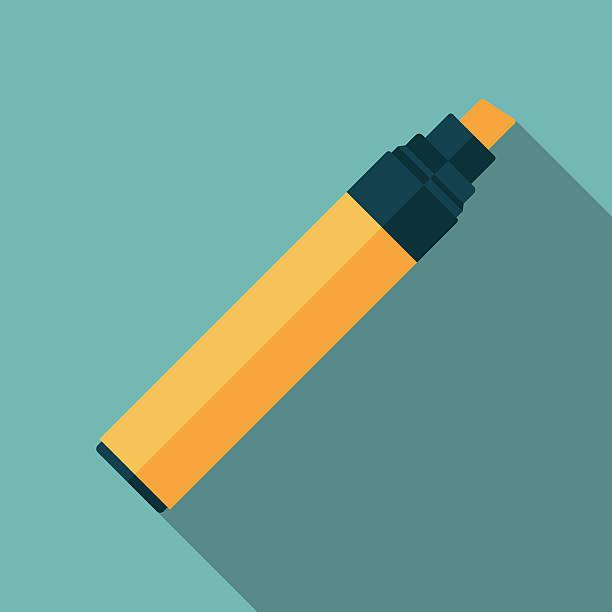 marker pen icon witn long shadow. flat style vector illustration - filzarbeiten stock-grafiken, -clipart, -cartoons und -symbole