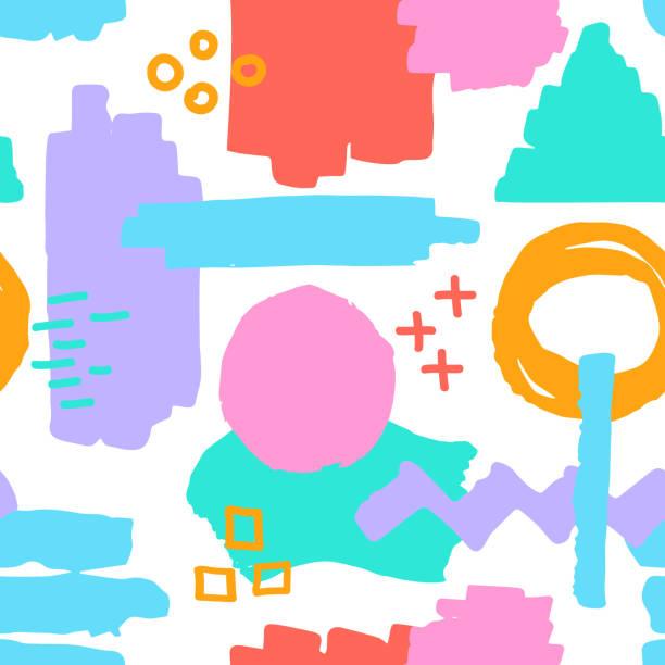 marker pen textures shapes vibrant colors seamless pattern vector art illustration