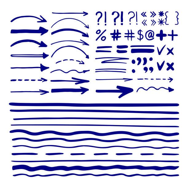 Marker pen written shapes vector art illustration