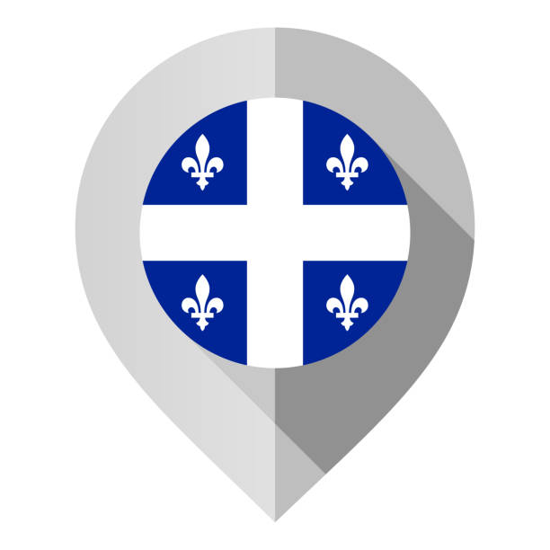 Marker with flag for map Marker with flag for map, vector illustration on white background quebec stock illustrations