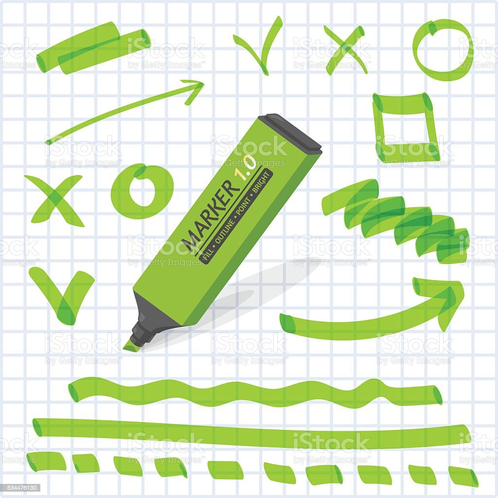 Marker with highlighter elements on the notebook page. vector art illustration