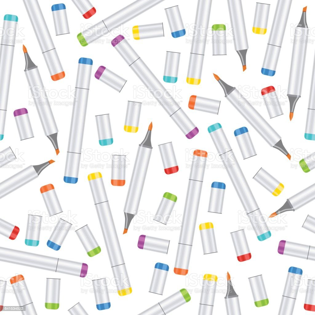 Markers Seamless Pattern Art Background Realistic Multicolored Professional Marker On White Backdrop