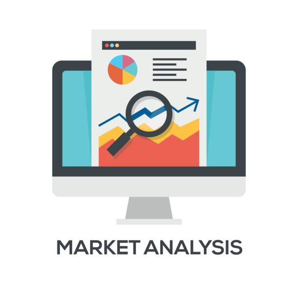 ilustraciones, imágenes clip art, dibujos animados e iconos de stock de ícono de análisis de mercado - corredor de bolsa