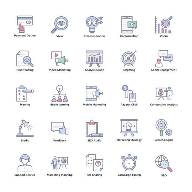 markt und wirtschaft flache symbole - korrekturlesen stock-grafiken, -clipart, -cartoons und -symbole
