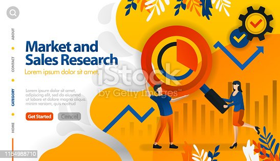 655652514 istock photo Market and sales research, target marketing and sales, seek profit vector illustration concept can be use for, landing page, template, ui ux, web, mobile app, poster, banner, website. Flat cartoon style for web ads, marketing, promotion, sticker wallpaper 1154988710