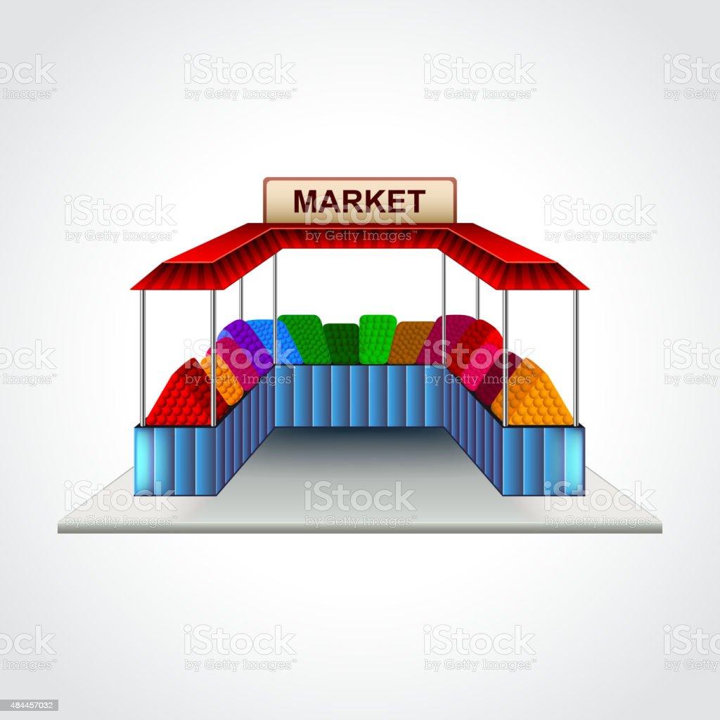 Mercado construção isolado Ilustração vetorial - ilustração de arte em vetor