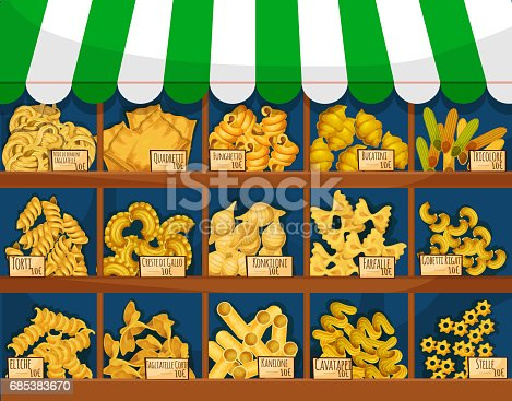 istock Market counter with italian macaroni or pasta 685383670