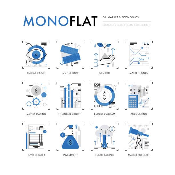 Économie de marché Monoflat icônes - Illustration vectorielle