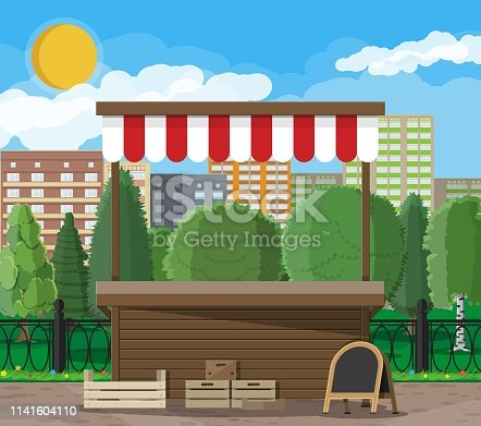 Traditional market empty wooden food stall with crates chalk board. City park, cityscape and trees. Sky with clouds and sun. Leisure time in summer city park. Vector illustration flat style