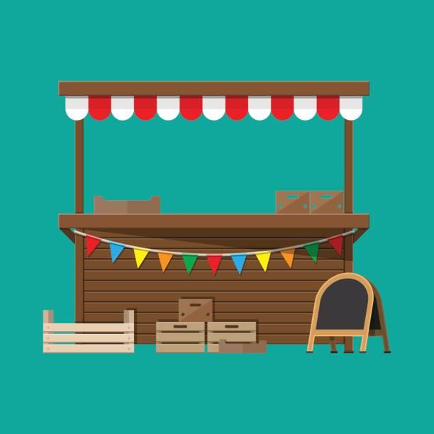 illustrazioni stock, clip art, cartoni animati e icone di tendenza di bancarella di cibo del mercato con bandiere, casse, lavagna - bancarella