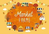 Market frame autumn watercolor