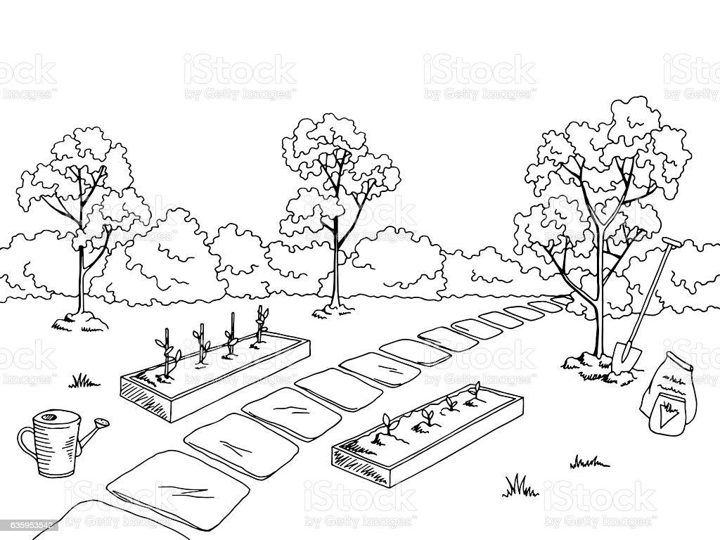 market garden graphic black white landscape sketch