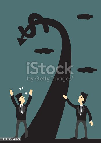 Arrow with money sign goes up and turn downwards. Creative cartoon vector illustration for concept on market downturn.