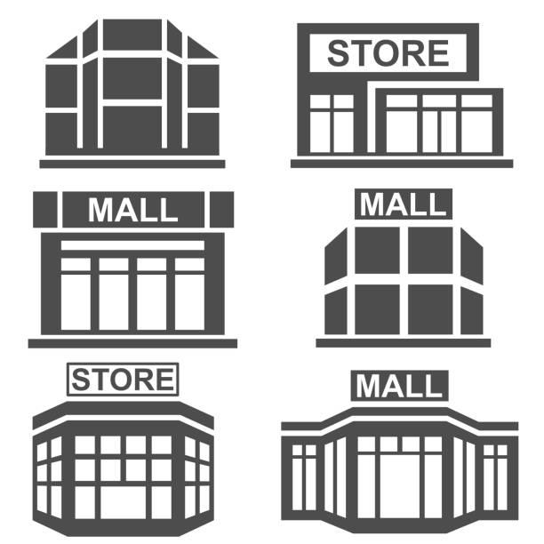 stockillustraties, clipart, cartoons en iconen met de pictogrammen van de markt - warenhuis