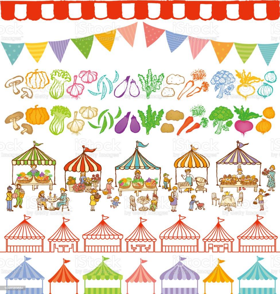 quadros de tendas de mercado local e evento. - ilustração de arte em vetor