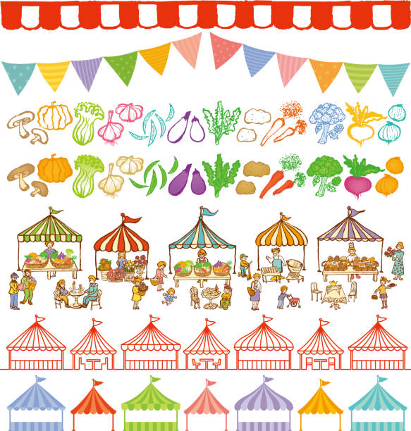market place and event tents frames. market place illustrations and event tents frames. farmers market illustrations stock illustrations