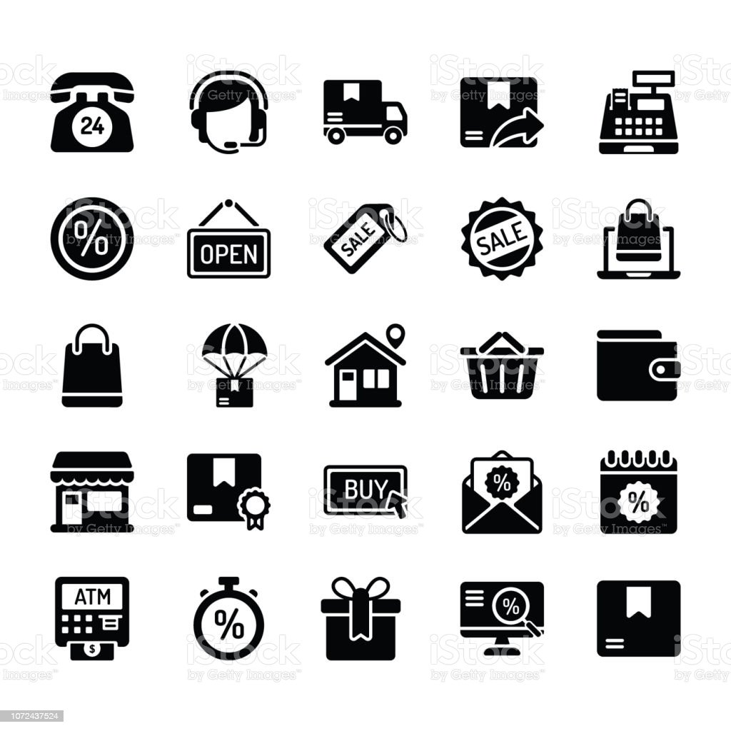 market place icon set batch 1 of 2 vector art illustration