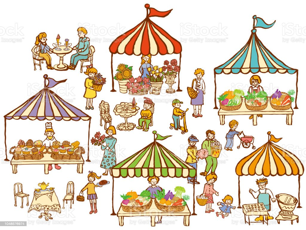 lugar de mercado. variedade de alimentos e de produtos hortícolas na arquibancada. - ilustração de arte em vetor