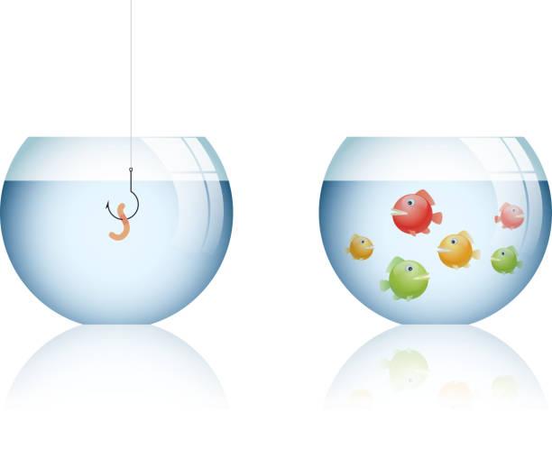 markt-positionierung-fehler - fischglas stock-grafiken, -clipart, -cartoons und -symbole