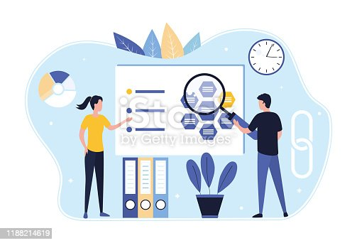 istock Market research concept and digital managed marketing business development strategy. A woman and a man with a magnifying glass analyze sales data. Flat vector illustration. 1188214619