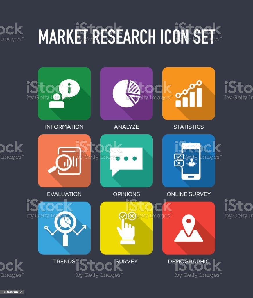 Market research flat icon set stock vector art more for The craft of research audiobook