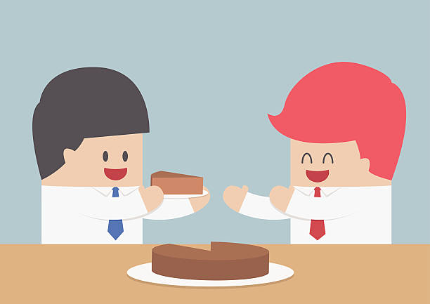 Market Share Businessman give a piece of cake to another, Market share concept, VECTOR, EPS10 cake clipart stock illustrations